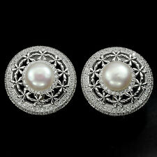 BEAUTEOUS! NATURAL CREAMY WHITE PEARL & WHITE CZ STERLING 925 SILVER EARRINGS