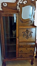 Antique Side by Side Secretary Drop Down Desk Curved Glass Bookcase Curio