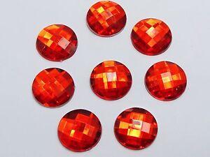 50 Red Acrylic Flatback Rhinestone Round Gem Beads 20mm No Hole
