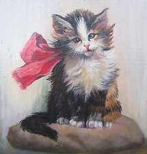 De Caro KÄTZCHEN / Katze mit rosa Schleife Katzenmaler! kitten pussy cat kitty