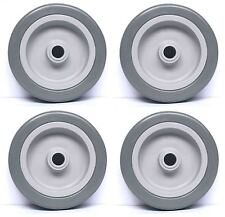 4 x 125mm. diameter grey synthetic rubber tyre non marking wheels. 12mm. bore*