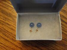 NIB STUD EARRINGS W/ GENUINE BLUE JADES 14K YELLOW GOLD - JADE COLOR IS AMAZING