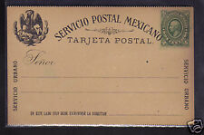 Mexico 2c Postal Stationery Postcard 1884, NM #1