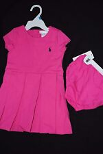 NEW Ralph Lauren Polo Pink  PLEATED PONTE DRESS & BLOOMER 24M