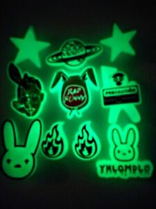 Bad Bunny GLOW/DARK Shoe Charms!  10PC SET! NEW! For Crocs, Clogs, Crafts & More