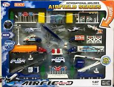 50pcs DIE CAST METAL AIR FIELD Sky AIRLINE car jeep Helicopter camion Toy Set