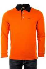 "Mancini  Large  Chest Measures 43"" Donny Flame Orange Long Sleeve Polo  RRP £99"