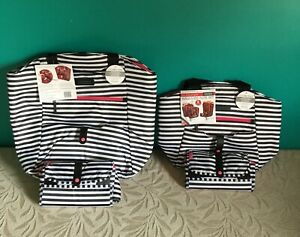 4 Piece California Innovations Thermal Insulated Bag & Tote Set B&W Stripes