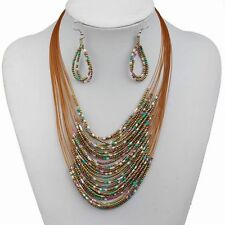 Large Ethnic Brown Mix Glass Bead 30 Multi Strand Waterfall Necklace Earring Set