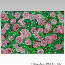 30 x 20 Flowers Painting Original Roses Art Red Pink Green Abstract Wall Art