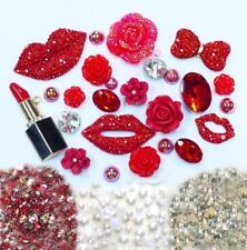DIY 3D Red Lips Alloy Bling Glass Gems Flatback Decoden Cabochons deco kit