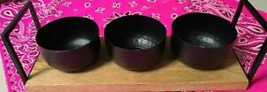 Wood Serving Tray With Handles and 3 Metal Black Dip & Chip Bowls Party Dish