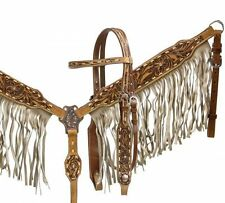 Tan Fringe Buck Stitch Tooled Leather Rodeo Bridle Headstall Breast Collar Reins