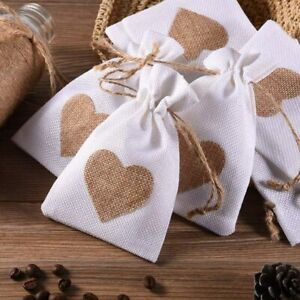 20PCS Hessian Drawstring Gift Bags Fabric Linen Pouch Wedding Favours Christmas