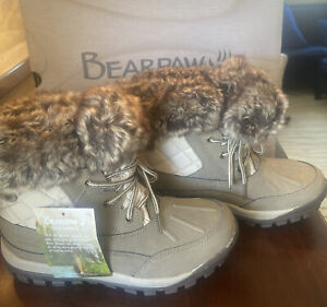 Bearpaw Womens Becka Snow Boot Size 8 New Lace Up Faux Fur Cuff