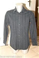 bonito camisa efecto arrugado de rayas negro HUGO BOSS slim fit T L excelente