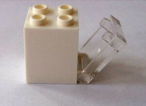 LEGO 2x2x2  White Container or Box with Trans Clear Pull Down Door *NEW*