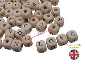 50 Pcs -  10mm Alphabet wood  Colour Mixed Letter Cube Wooden Beads Craft Q51