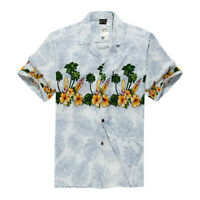 Men Tropical Hawaiian Aloha Shirt Cruise Luau Beach Party White Surfboards Flora