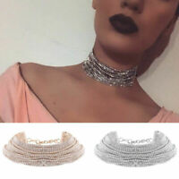 Multilayer Chain Choker Crystal Clavicle Jewelry Fashion Collar Women Necklace