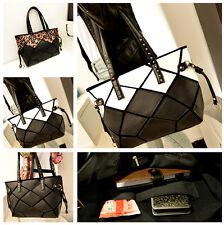 Women's Fashion Faux Leather Shoulder Bag  Black White Hobo Tote Handbag Shopper