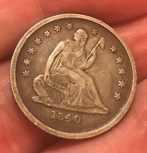 1840-o. ND  seated Liberty quarter ,VF  better date