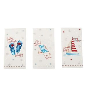 Mud Pie E9 Oh Crab! Embroidered Sequin Beach Hand Towel 41500025 Choose Design
