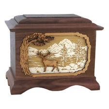 Wood Cremation Urn (Wooden Urns) - Walnut Whitetail Deer Ambassador