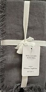 Williams-Sonoma Fringed Napkins Set/4 In Charcoal