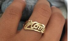 """Mom"" 14K Real Solid Yellow Gold Mom Ring Band Mother's Day Gift"