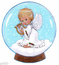 "5.5"" PRECIOUS MOMENTS ANGEL HARP  CHRISTMAS HOLIDAY WINDOW CLING DECAL CUT OUT"