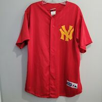 Rare VTG Majestic New York Yankees Red Yellow Pinstripe Alternate Jersey Mens L