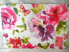 """Set of 4 - 13""""x19"""" Pink Fiona Floral Fabric Placemats NEW FREE SHIPPING"""