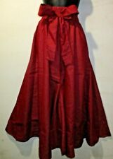 Pants Fits M L XL 1X 2X African Wax Cotton Denim Burgundy Wide Leg NWT Palazzo