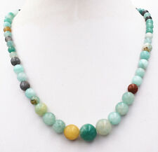 Natural 6-14mm Amazon Round Beads Gemstone Necklace 18''