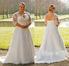 Lace 3/4 Sleeve Wedding Dress Bridal Gown Custom Plus Size 18-20-22-24-26-28++