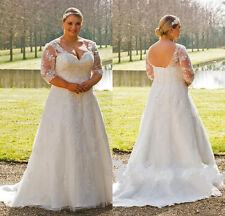 V Neck 3/4 Sleeve Wedding Dress Bridal Gown Custom Plus Size 18-20-22-24-26-28++