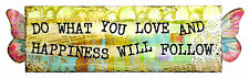 "Wall Plaque Deco with Metal Wings - ""Do What You Love And Happiness will Follow"""