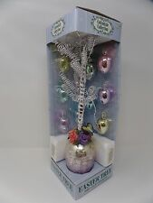 """Easter Tree with 10 Glass Ornaments Cottontale Collection 15"""" Tall Spring Decor"""