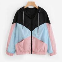 Women Long Sleeve Patchwork Hooded Zipper Pocket Casual Sport Coat Jacket Winter