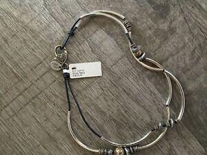 Lizzy James Girlfriend Silver With Purple Leather Wrap Bracelet / Necklace NWT