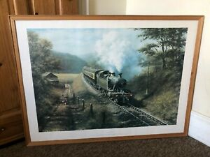 Original Large Vintage Railway Print 'Racing The Train' 1977 Don Breckon