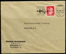 WWII II ERA GERMANY CHANCELLOR FRANKED 12  pfg STAMP  COVER DRESDEN TO LEIPZIG