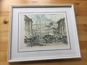 Original Watercolour of The Spanish Steps in Rome. Framed Picture