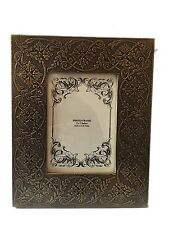 """Bohemian Antique Brass Wooden Picture Photo Frame Free Standing Holds 5"""" X 7"""" In"""