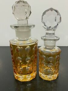 Vtg 2pc Etched Decorative Luster Orange Art Glass Vanity Perfume Bottles