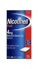 4x Nicotinell Fruit Medicated 4mg Chewing Gum 96 (384) Pieces