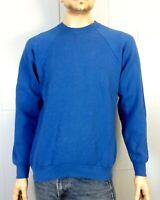 vtg 80s 90s Fruit of the Loom Classic Blank Solid Blue Sweatshirt Raglan sz XL