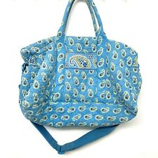 Vera Bradley Green Blue Paisley Large Overnight Travel Crossbody Bag