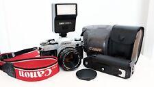 Canon AE-1 35mm Kit Fotocamera Reflex Pellicola Con Flash Lens Case MOTOR DRIVE